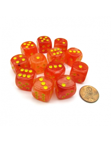 Dados D6 16MM  Tarro  - Ghostly Glow Naranja /Amarillo