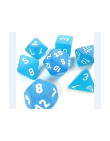 Frosted Polyhedral Azul /Blanco  Set 7-Dados
