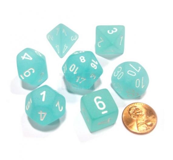 Frosted Polyhedral Verde Azulado /Blanco  Set 7-Dados