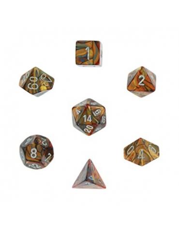 Lustrous Polyhedral Dorado/Plata Set 7-Dados