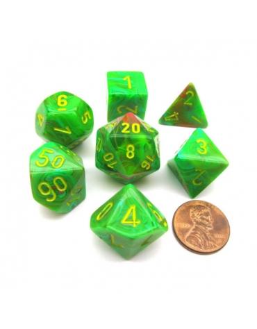 Polyhedral Set 7-Dados - Vortex Lima / Amarillo