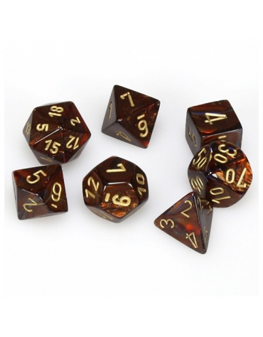 Scarab Polyhedral Azul  Blood/Dorado Set 7-Dados
